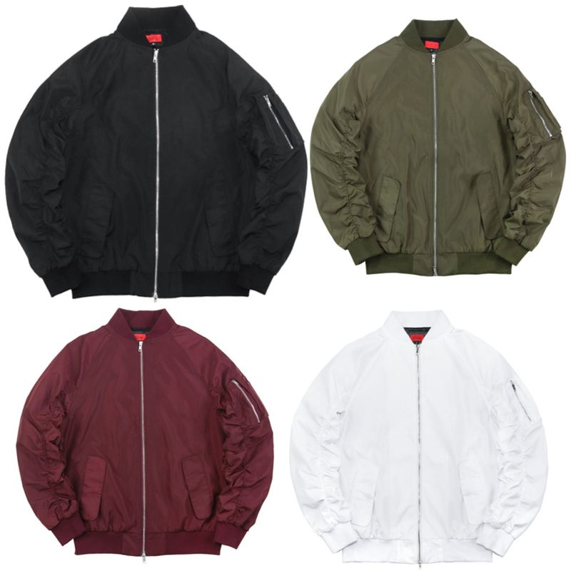 Anti Shrink Mens Casual Bomber Jackets , Zipper Sleeve Plain Bomber Jackets